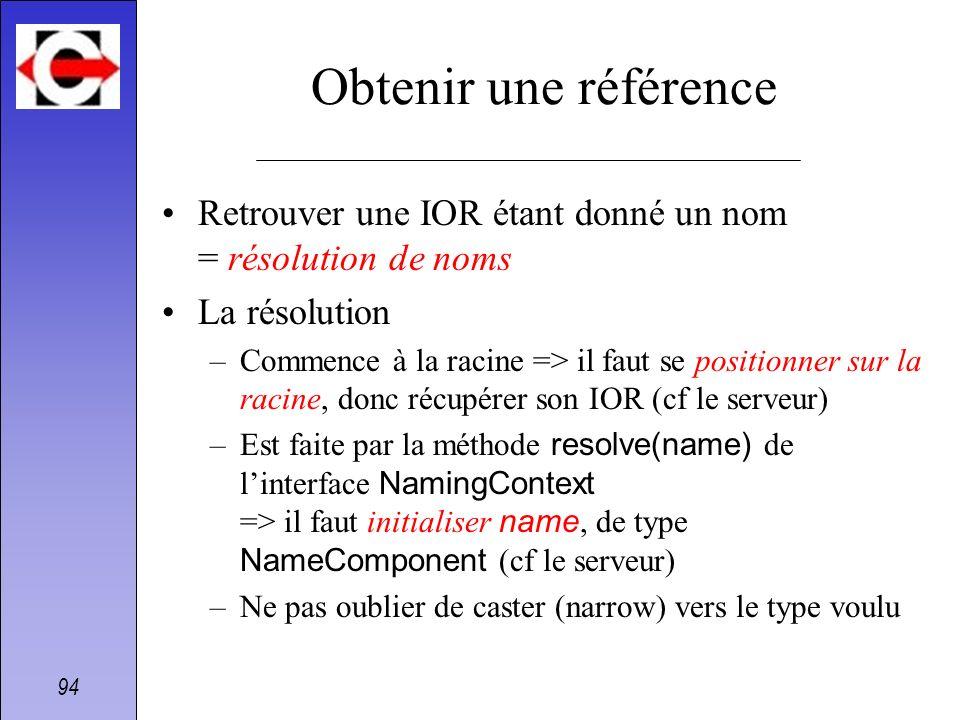 Obtenir une référence Retrouver une IOR étant donné un nom = résolution de noms. La résolution.