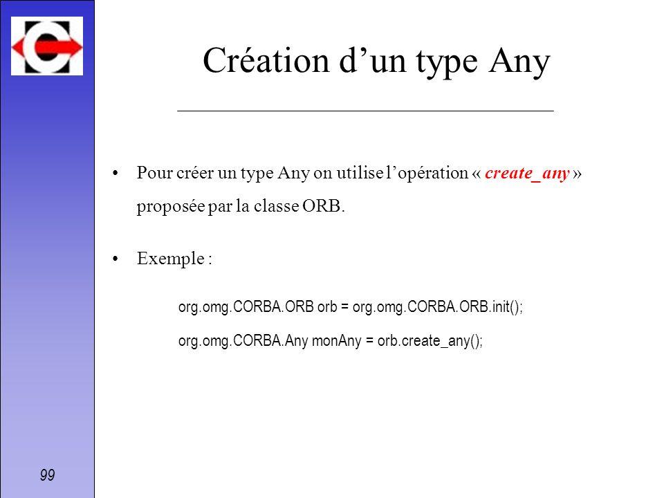 Création d'un type Any Pour créer un type Any on utilise l'opération « create_any » proposée par la classe ORB.