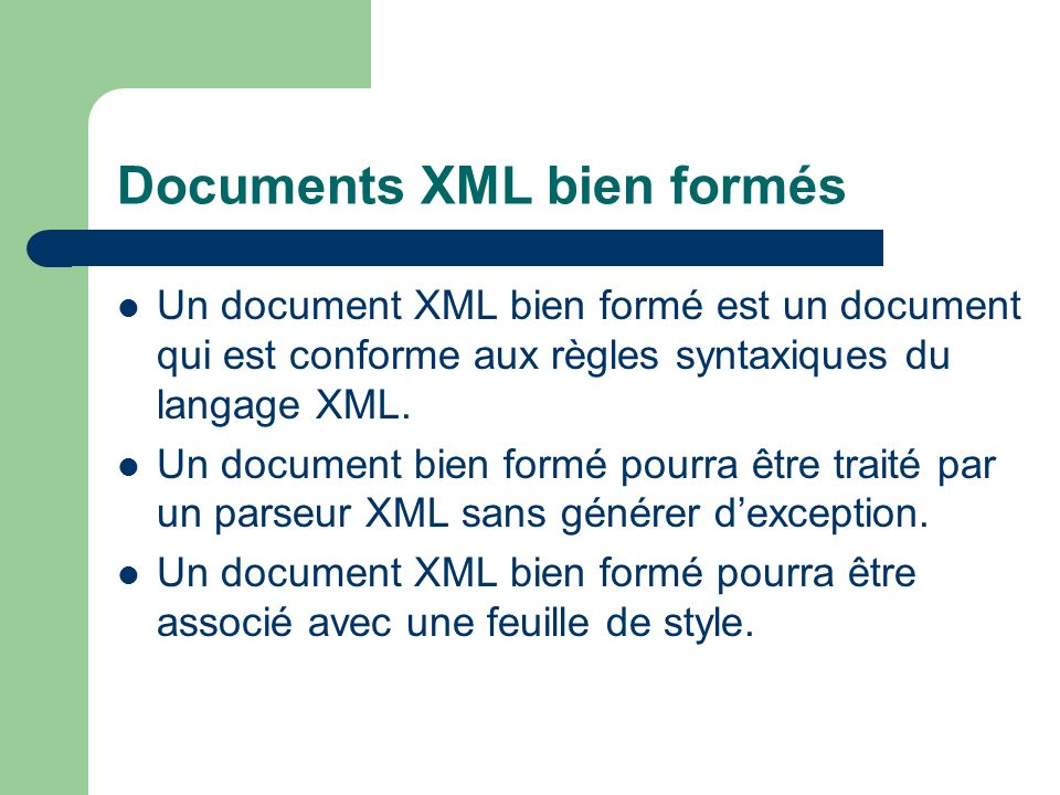 Documents XML bien formés