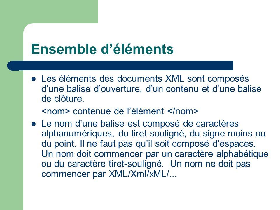 Ensemble d'éléments Les éléments des documents XML sont composés d'une balise d'ouverture, d'un contenu et d'une balise de clôture.