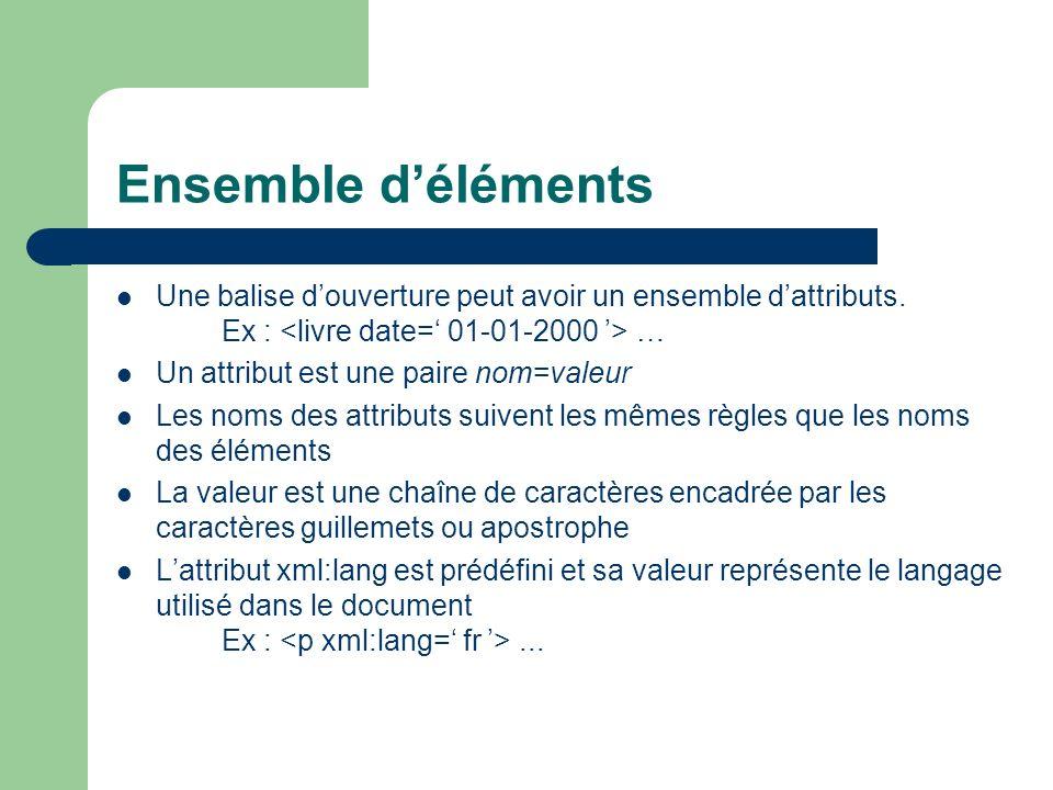 Ensemble d'éléments Une balise d'ouverture peut avoir un ensemble d'attributs. Ex : <livre date=' 01-01-2000 '> …