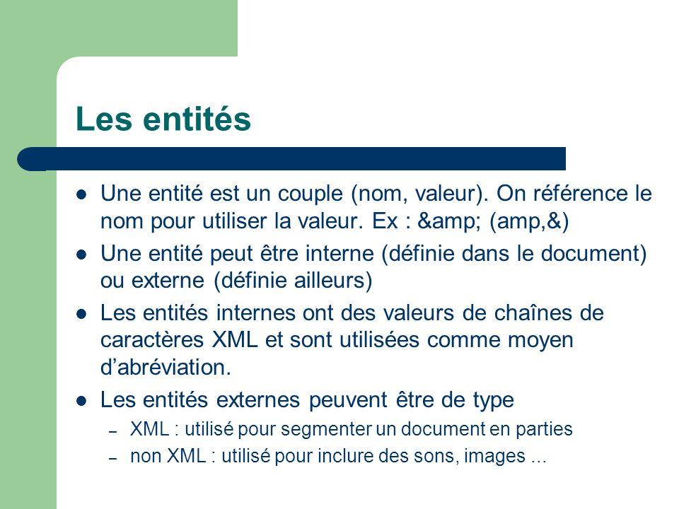 Les entités Une entité est un couple (nom, valeur). On référence le nom pour utiliser la valeur. Ex : & (amp,&)