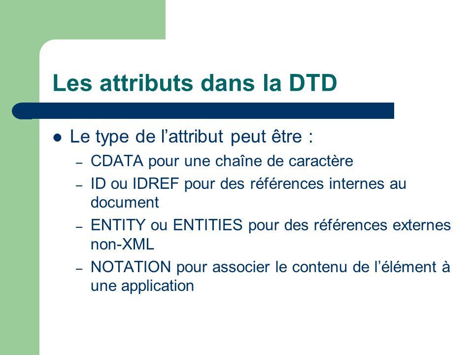 Les attributs dans la DTD