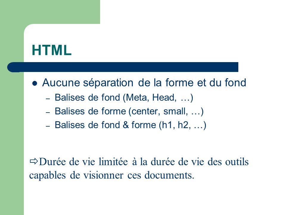 HTML Aucune séparation de la forme et du fond