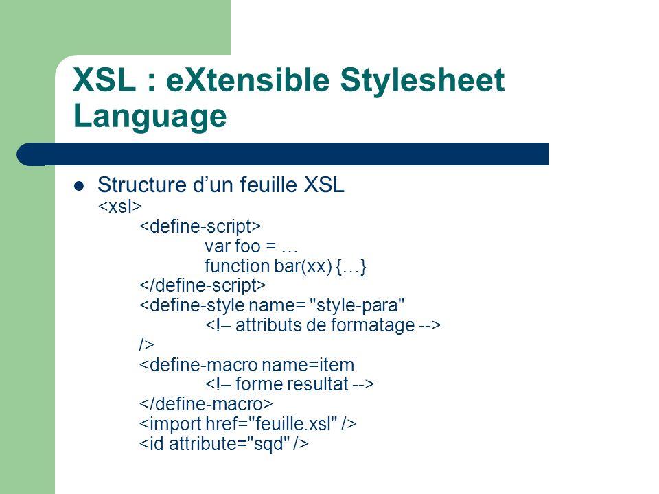 XSL : eXtensible Stylesheet Language