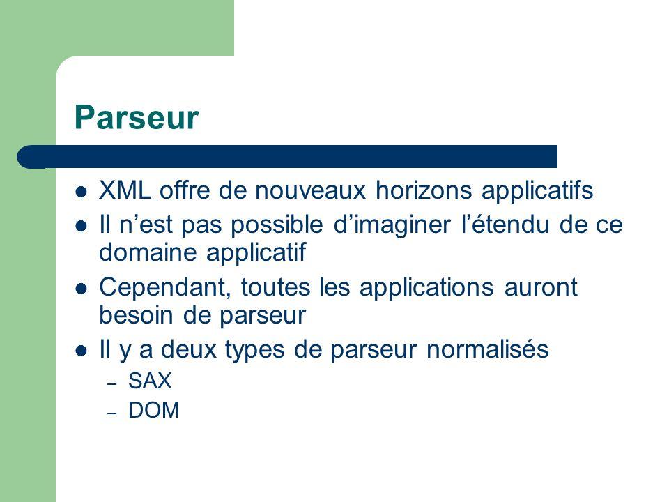 Parseur XML offre de nouveaux horizons applicatifs