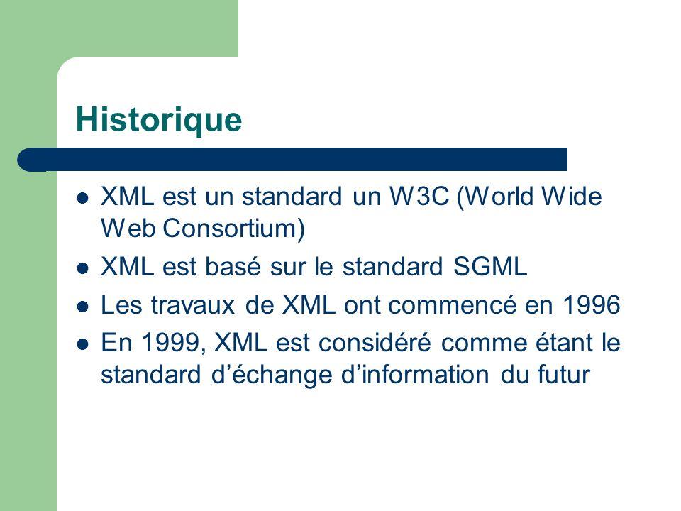 Historique XML est un standard un W3C (World Wide Web Consortium)