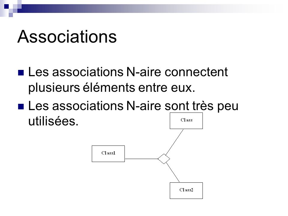 Associations Les associations N-aire connectent plusieurs éléments entre eux.