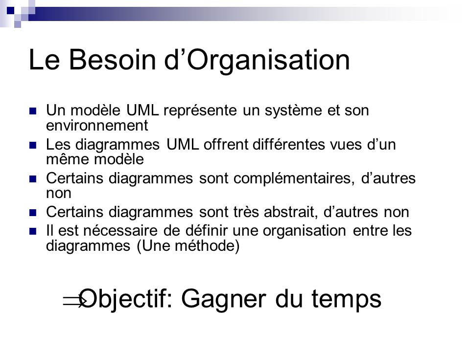 Le Besoin d'Organisation