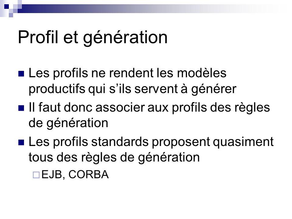 Profil et génération Les profils ne rendent les modèles productifs qui s'ils servent à générer.