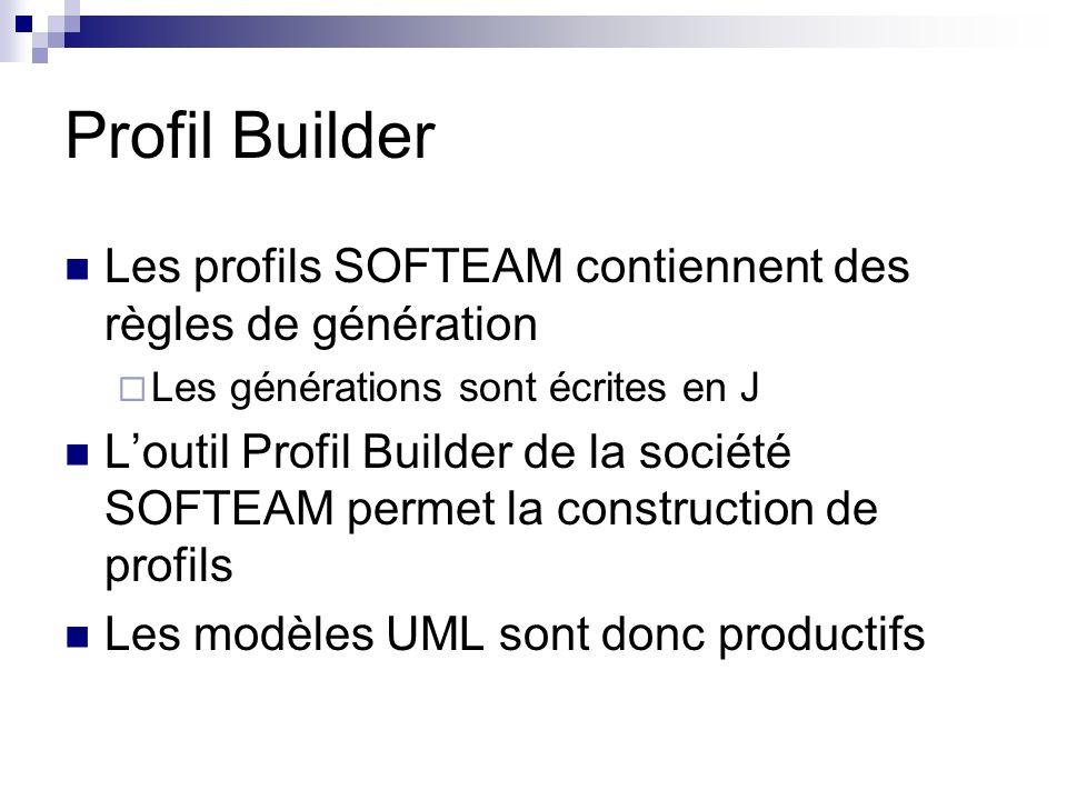 Profil Builder Les profils SOFTEAM contiennent des règles de génération. Les générations sont écrites en J.