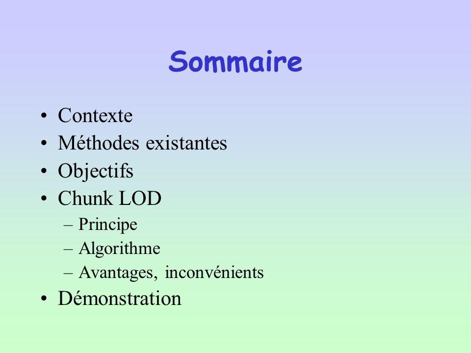 Sommaire Contexte Méthodes existantes Objectifs Chunk LOD