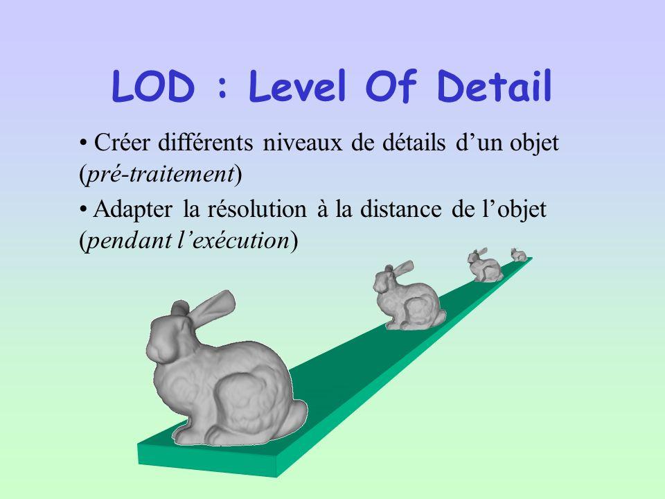 LOD : Level Of Detail Créer différents niveaux de détails d'un objet