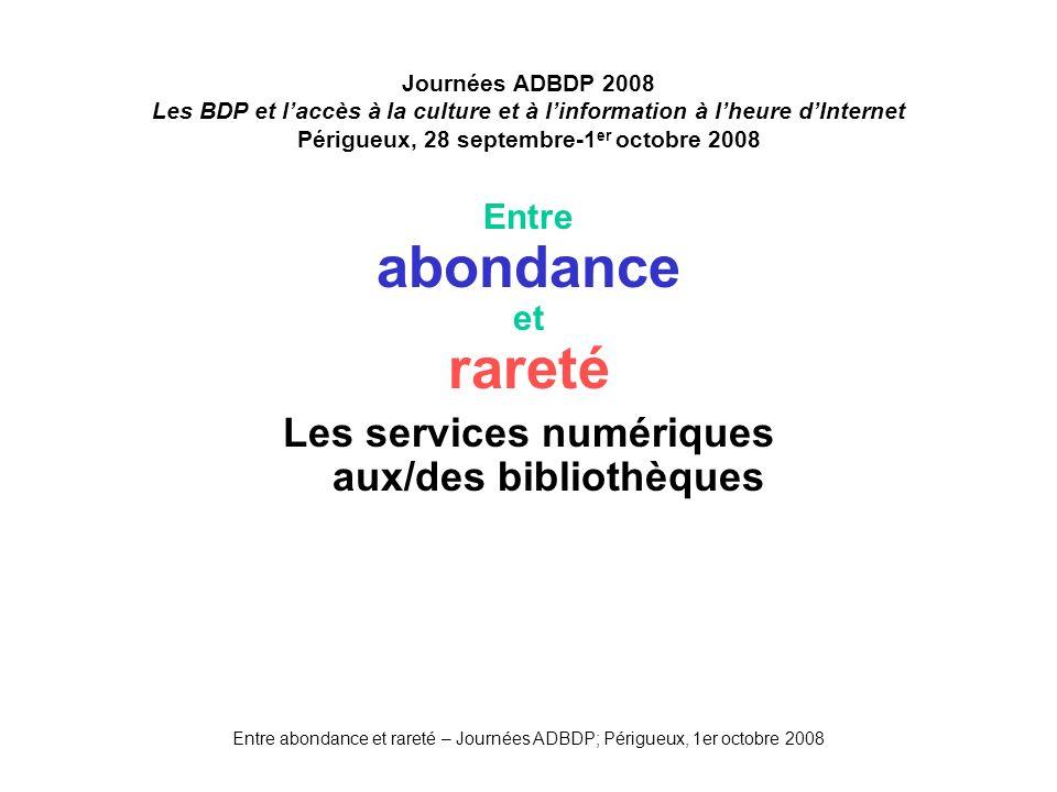 Les services numériques aux/des bibliothèques
