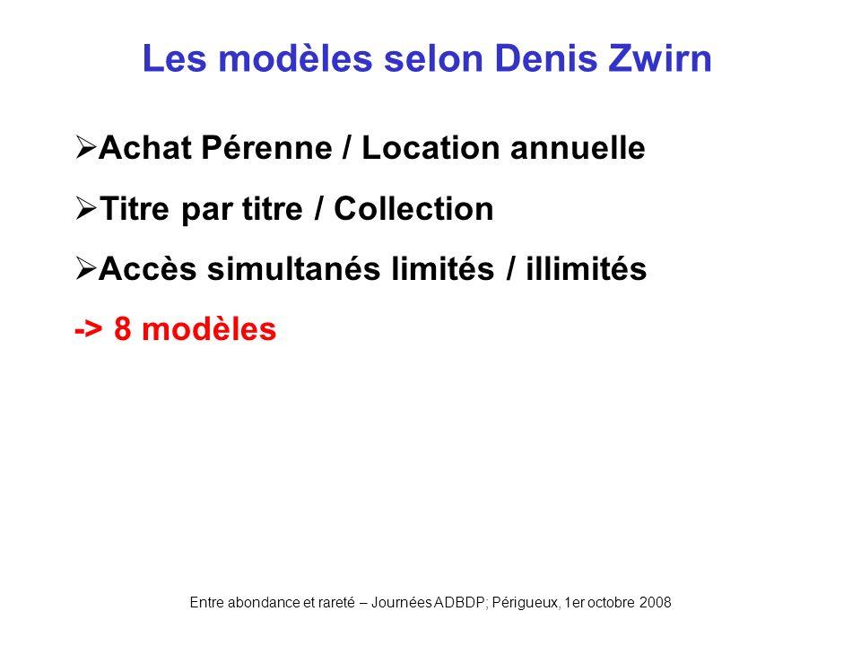 Les modèles selon Denis Zwirn