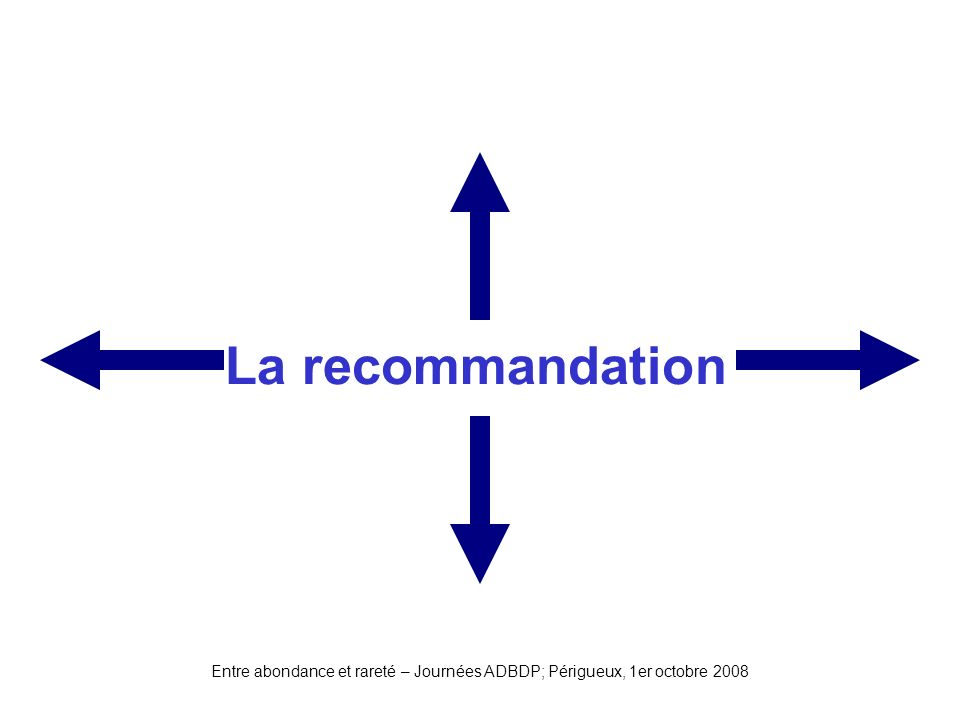 La recommandation Entre abondance et rareté – Journées ADBDP; Périgueux, 1er octobre 2008