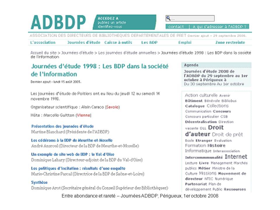 ADBDP-JE1998 Entre abondance et rareté – Journées ADBDP; Périgueux, 1er octobre 2008