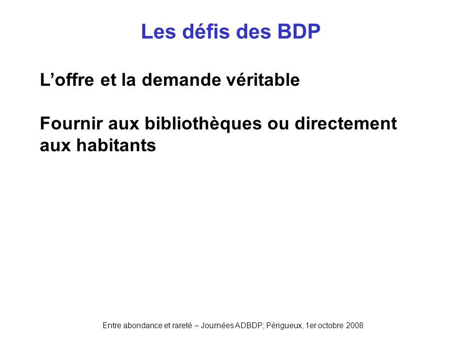 Les défis des BDP L'offre et la demande véritable