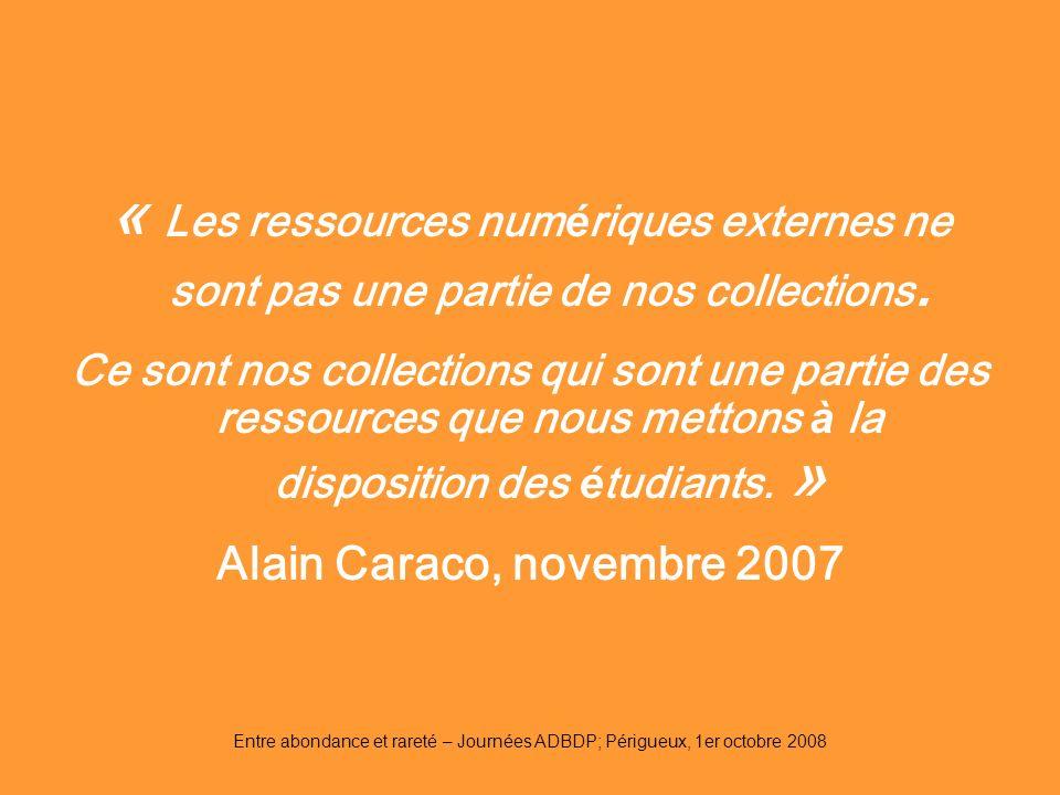 « Les ressources numériques externes ne sont pas une partie de nos collections.