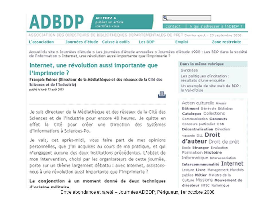 ADBDP-JE1998-Reiner Entre abondance et rareté – Journées ADBDP; Périgueux, 1er octobre 2008