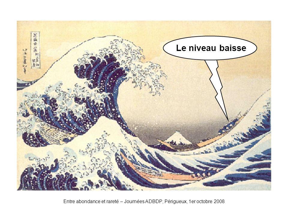 Vague2 Le niveau baisse Entre abondance et rareté – Journées ADBDP; Périgueux, 1er octobre 2008