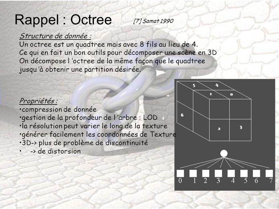 Rappel : Octree Structure de donnée :