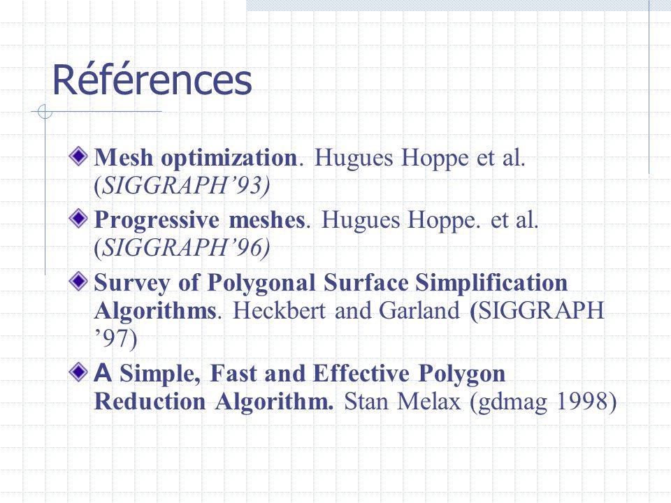 Références Mesh optimization. Hugues Hoppe et al. (SIGGRAPH'93)