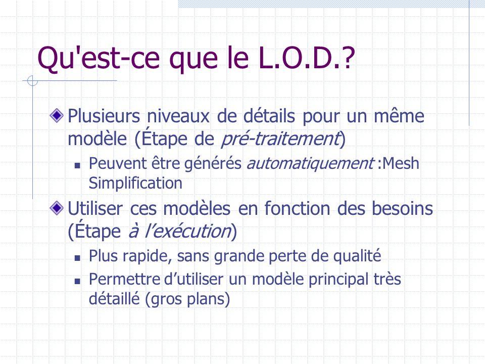 Qu est-ce que le L.O.D. Plusieurs niveaux de détails pour un même modèle (Étape de pré-traitement)