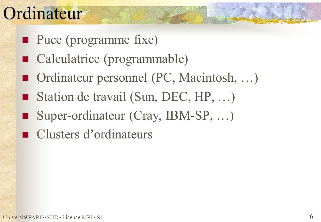 Ordinateur Puce (programme fixe) Calculatrice (programmable)
