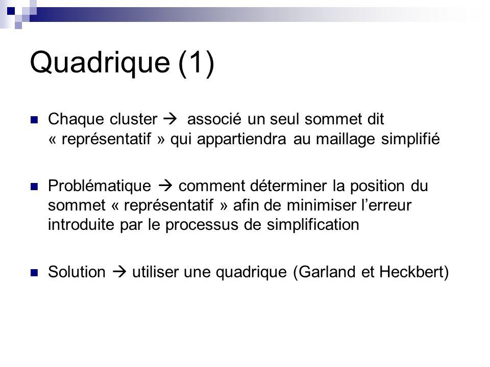 Quadrique (1) Chaque cluster  associé un seul sommet dit « représentatif » qui appartiendra au maillage simplifié.