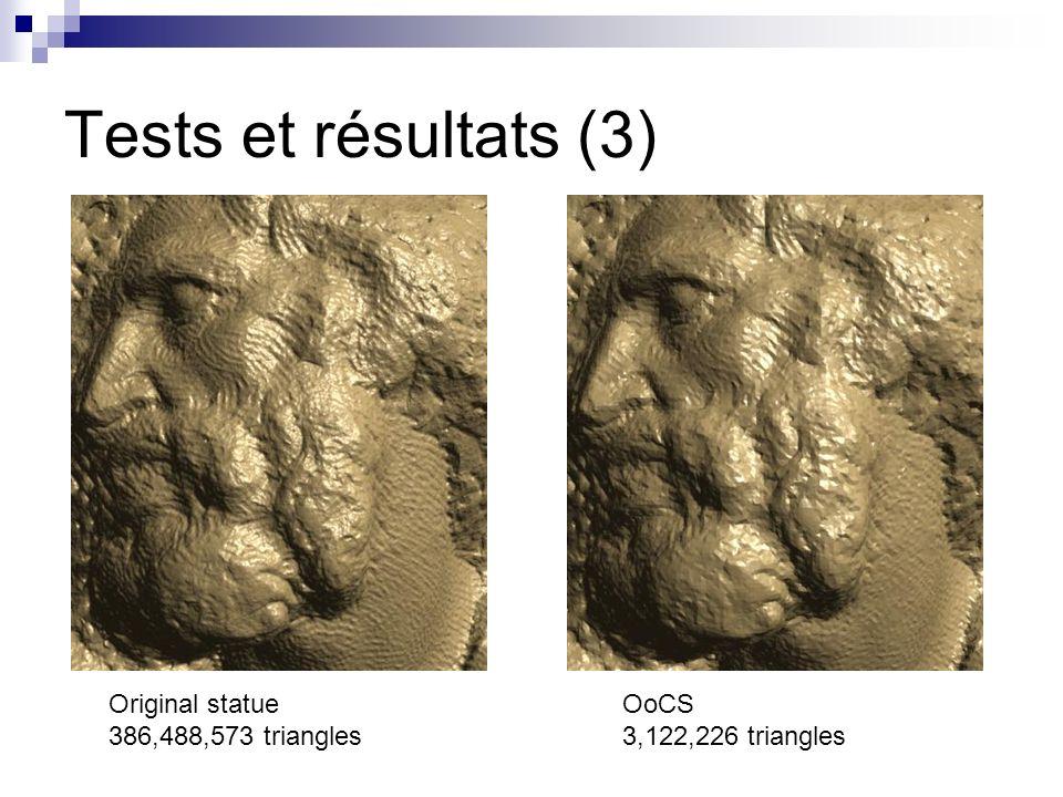 Tests et résultats (3) Original statue 386,488,573 triangles