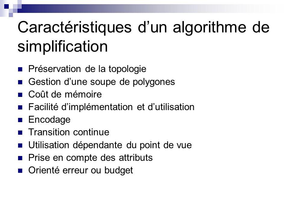 Caractéristiques d'un algorithme de simplification