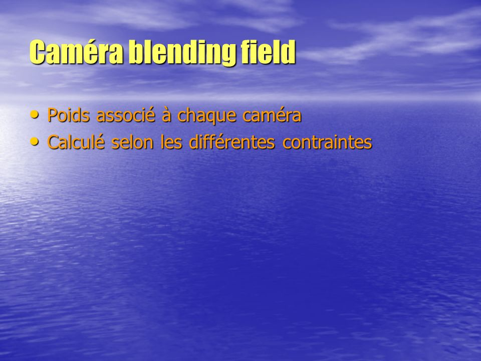 Caméra blending field Poids associé à chaque caméra