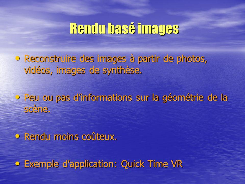 Rendu basé images Reconstruire des images à partir de photos, vidéos, images de synthèse. Peu ou pas d'informations sur la géométrie de la scène.