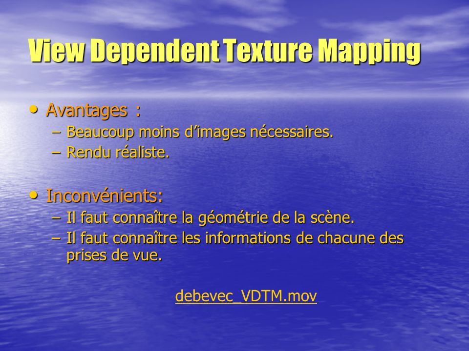 View Dependent Texture Mapping