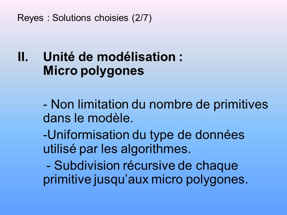 Reyes : Solutions choisies (2/7)