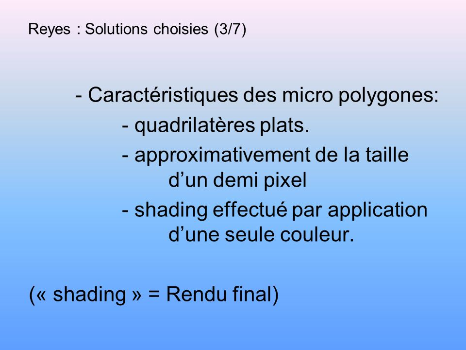 Reyes : Solutions choisies (3/7)
