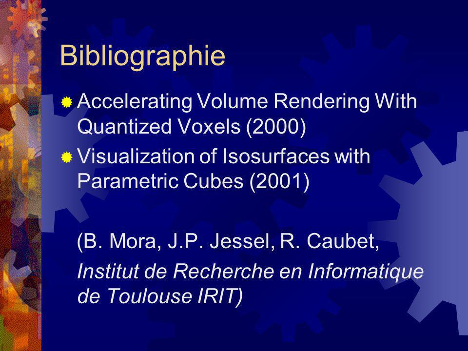 Bibliographie Accelerating Volume Rendering With Quantized Voxels (2000) Visualization of Isosurfaces with Parametric Cubes (2001)