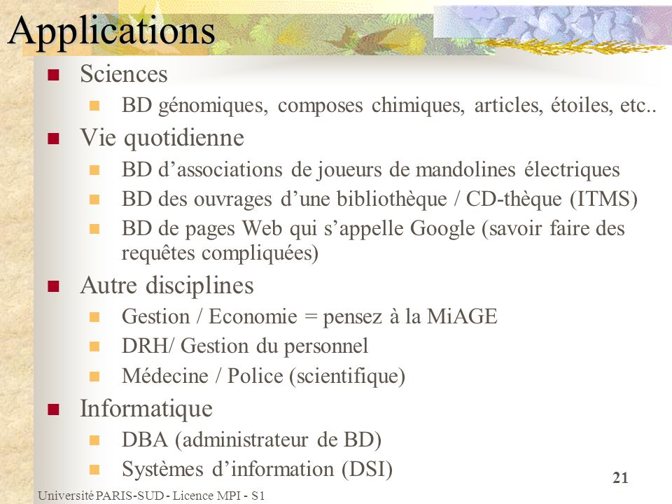 Applications Sciences Vie quotidienne Autre disciplines Informatique