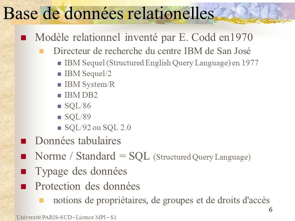 Base de données relationelles