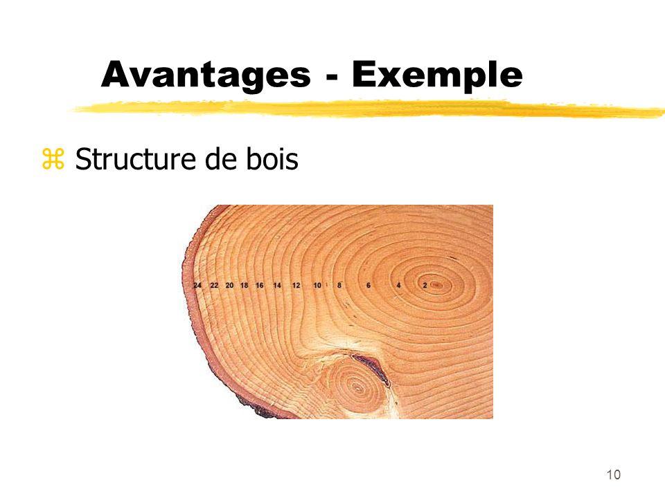Avantages - Exemple Structure de bois