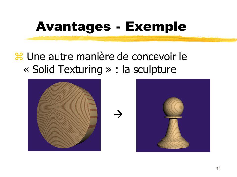 Avantages - Exemple Une autre manière de concevoir le « Solid Texturing » : la sculpture 