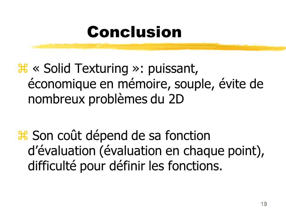 Conclusion « Solid Texturing »: puissant, économique en mémoire, souple, évite de nombreux problèmes du 2D.