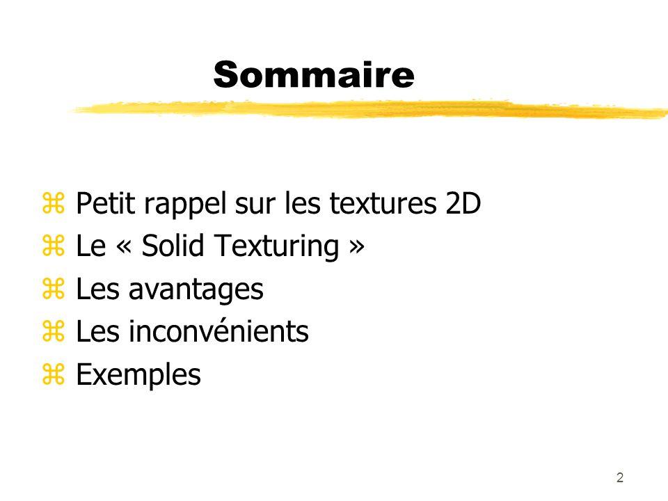 Sommaire Petit rappel sur les textures 2D Le « Solid Texturing »