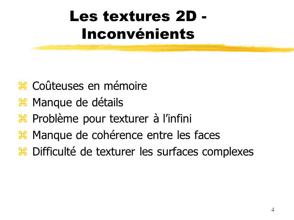 Les textures 2D - Inconvénients