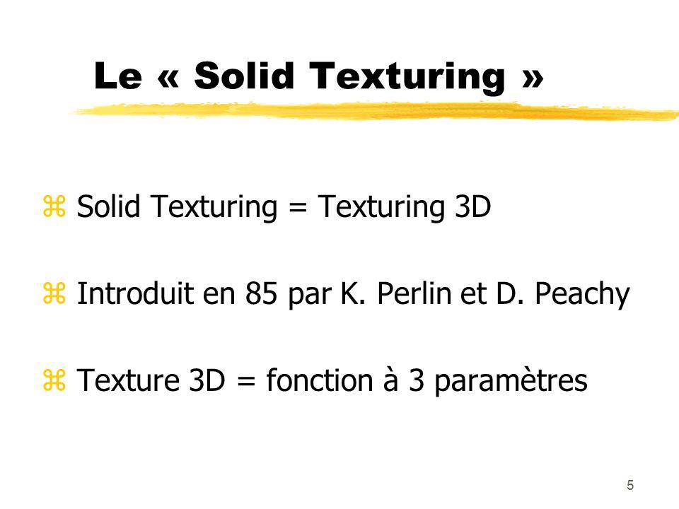 Le « Solid Texturing » Solid Texturing = Texturing 3D