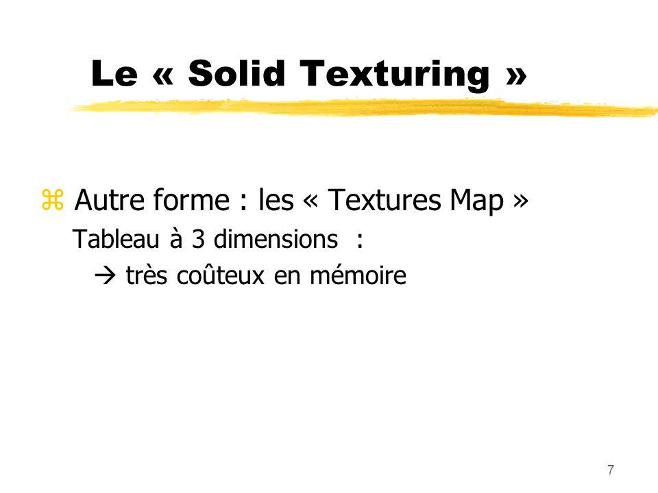 Le « Solid Texturing » Autre forme : les « Textures Map »