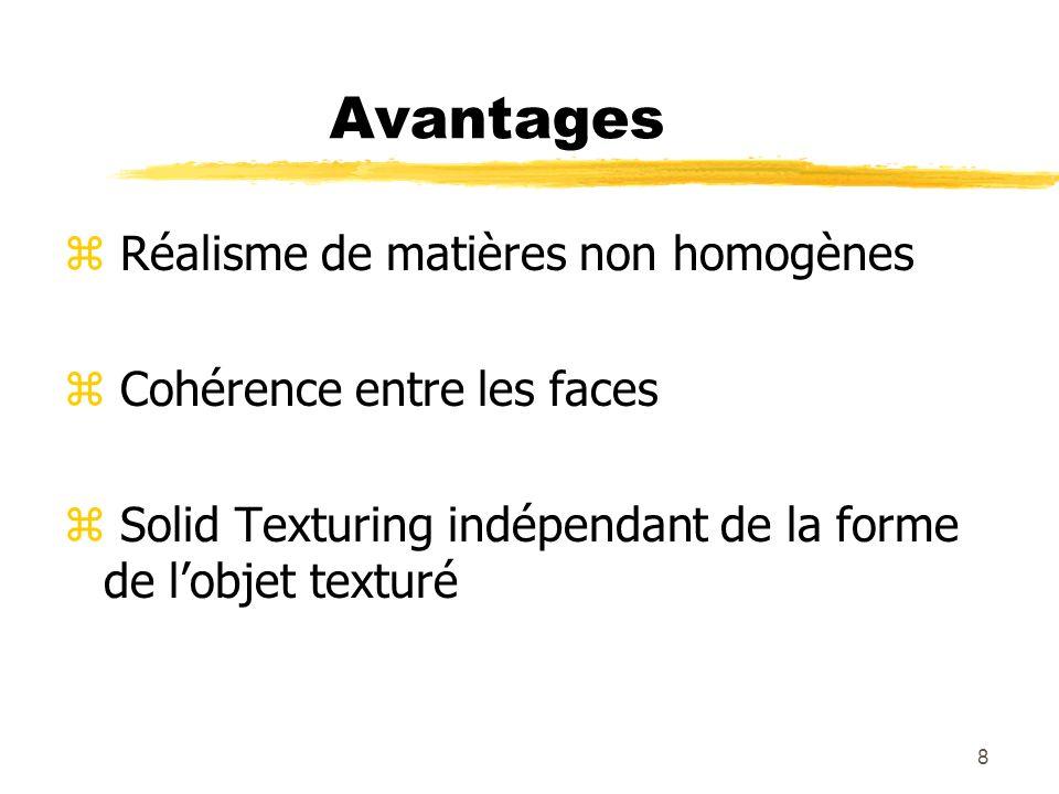Avantages Réalisme de matières non homogènes Cohérence entre les faces