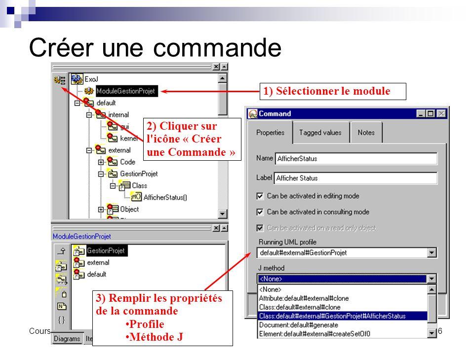 Créer une commande 1) Sélectionner le module