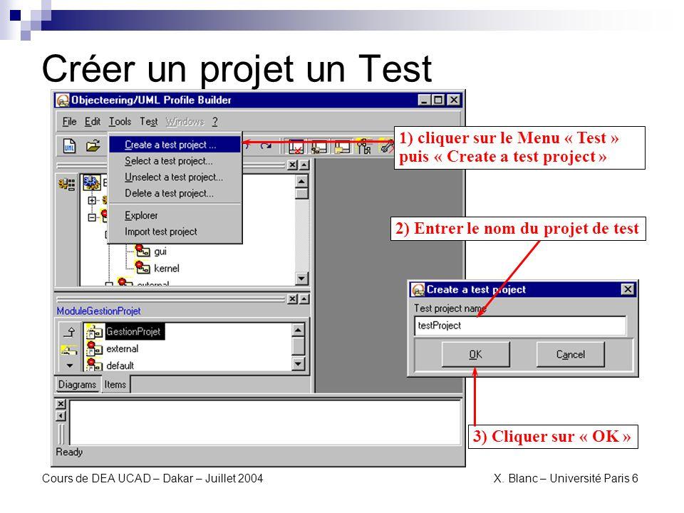 Créer un projet un Test1) cliquer sur le Menu « Test » puis « Create a test project » 2) Entrer le nom du projet de test.